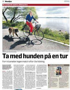 Cykla med hunden- artikel om Glanna i Hallandsposten