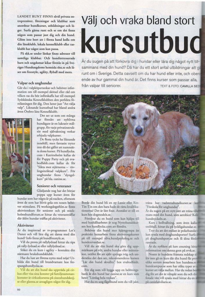 Glanna i tidningen Hundsport