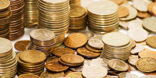 Högar med mynt