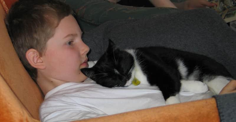 Pojke med en sovande katt på bröstet